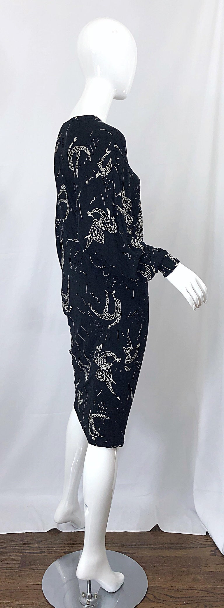 Amen Wardy 1980s Hand Painted Novelty Harlequin Print Black and White 80s Dress For Sale 9