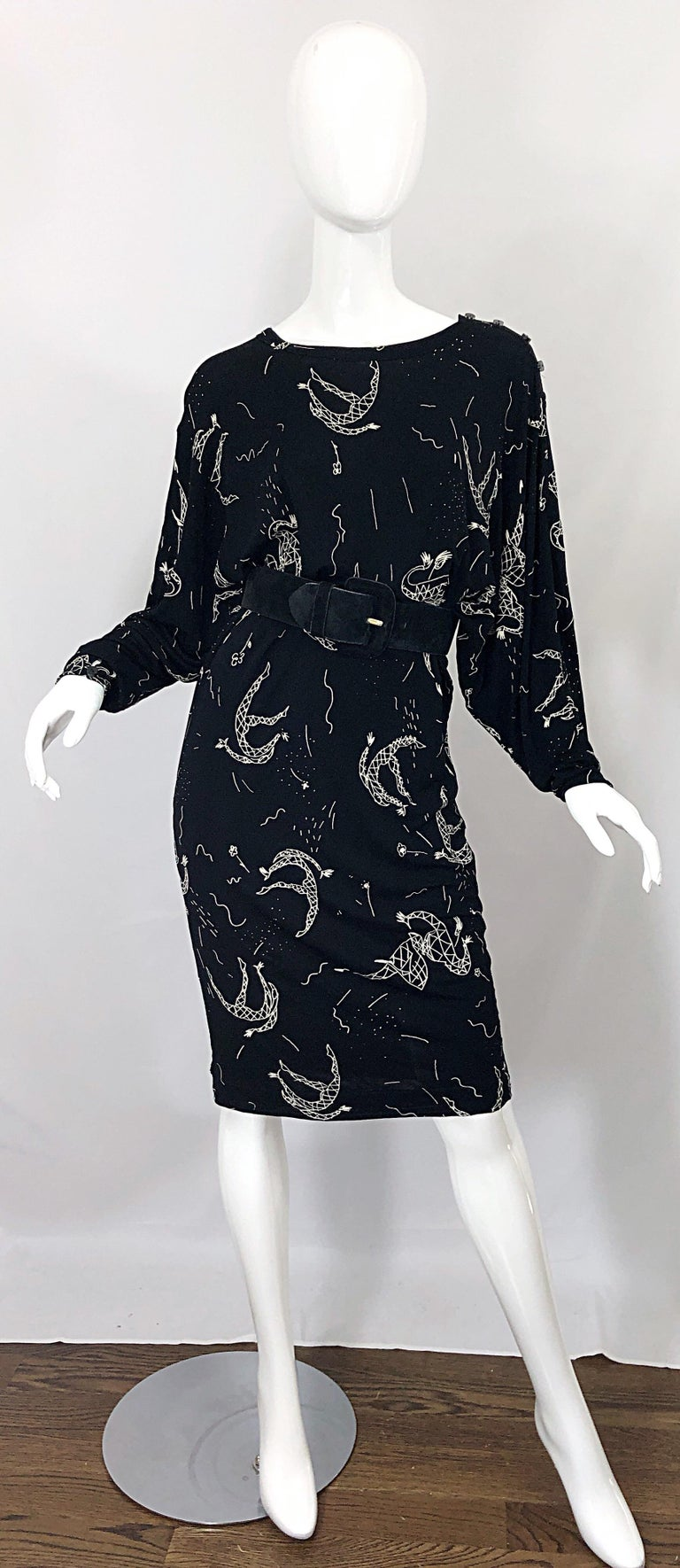 Amen Wardy 1980s Hand Painted Novelty Harlequin Print Black and White 80s Dress For Sale 3