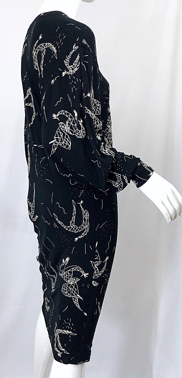 Amen Wardy 1980s Hand Painted Novelty Harlequin Print Black and White 80s Dress For Sale 4