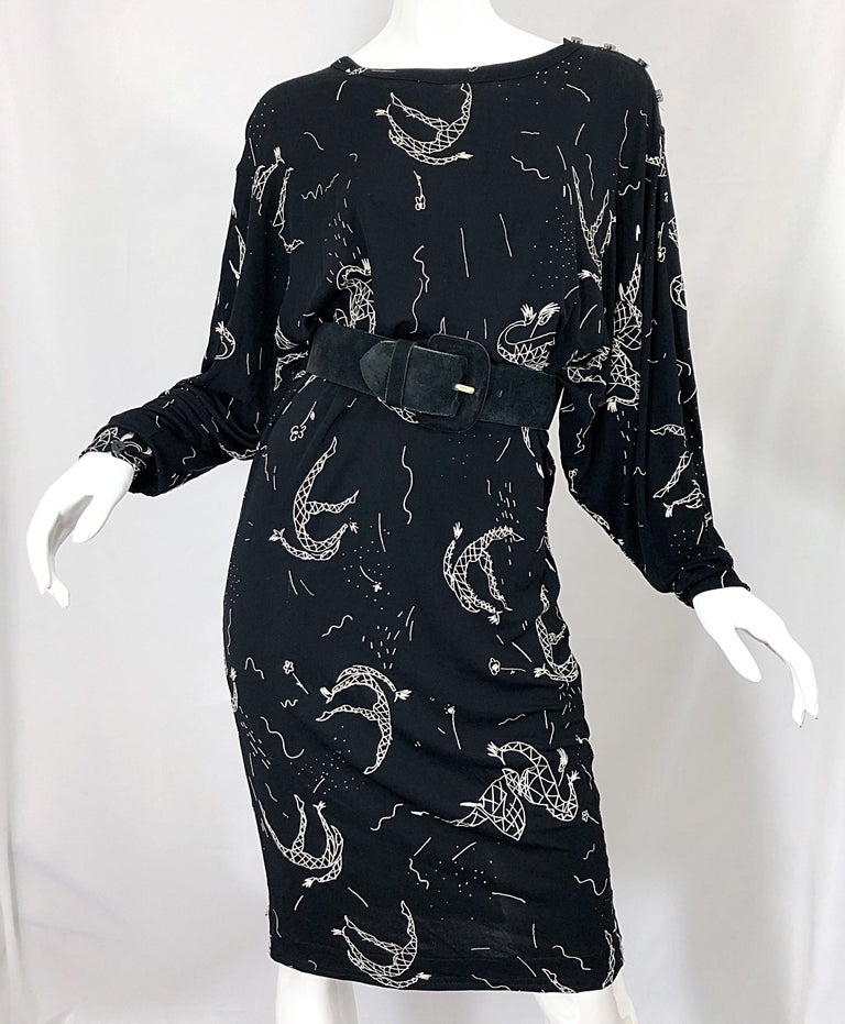 Amen Wardy 1980s Hand Painted Novelty Harlequin Print Black and White 80s Dress For Sale 5