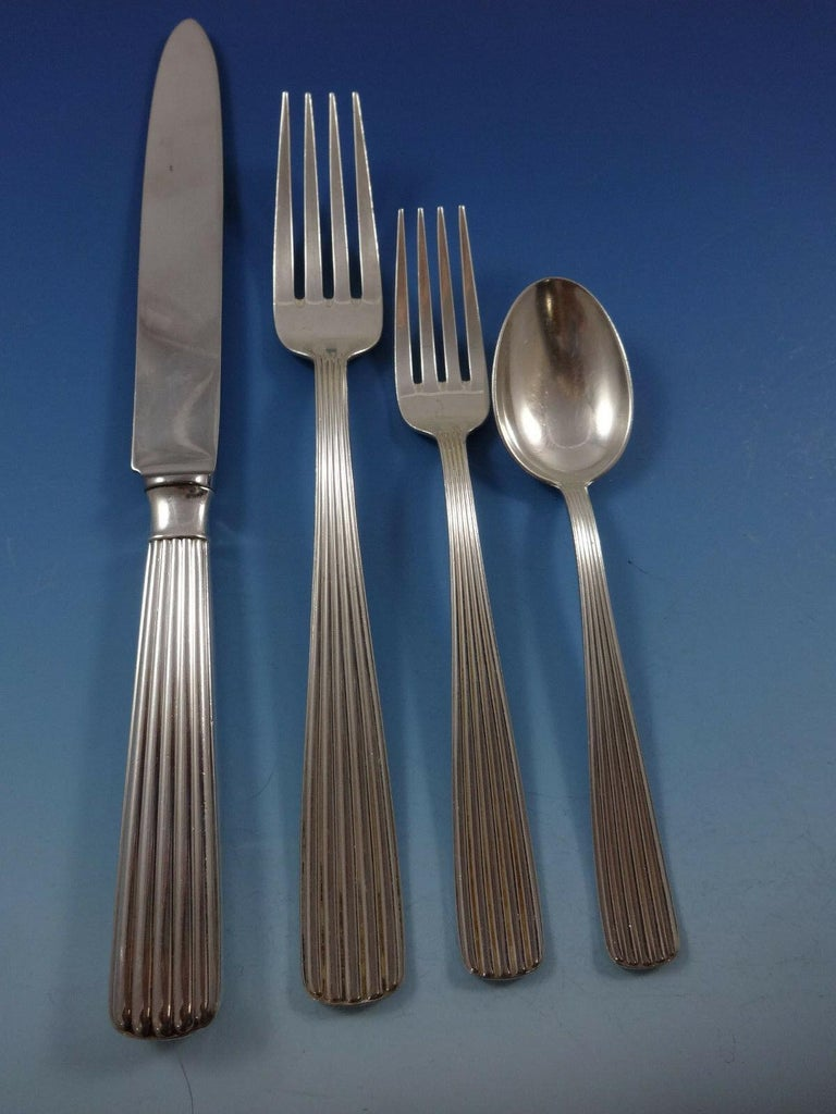 America by Schiavon Sterling Silver Flatware Dinner Set Service 67 Pcs, Italy In Excellent Condition For Sale In Big Bend, WI