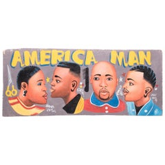 """America Man"" Hand-Painted African Barbershop Sign"