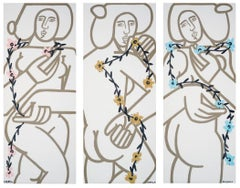 3 Women with Vines (Triptych)_2021_America Martin_Linen_Female Portrait, Nude