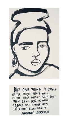 Amanda Gorman, America Martin, portrait w ink- portion of sale to ACLU/NAACP