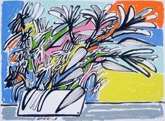 Cornflowers Shasta & Barberton Daisies, America Martin, Ink on Cotton, Florals