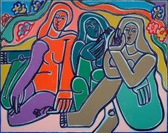 Homage to Gauguin Women_2021, America Martin_Oil/Acrylic- Female Nude Figures