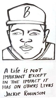 Jackie Robinson, America Martin, ink portrait- portion of sale to ACLU/NAACP