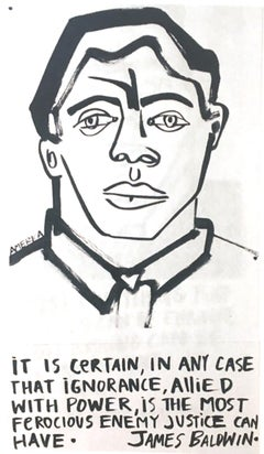 James Baldwin 2, America Martin_Ink on Paper_2020- portion of sale to ACLU/NAACP
