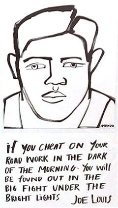 Joe Louis, 2020, America Martin, ink portrait- portion of sale to ACLU/NAACP