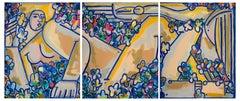Lidia & Swan Triptych_America Martin_Oil/Acrylic/Canvas (Floral/Figurative/Nude)