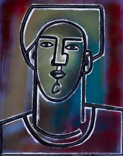 Man with Red Shirt_2021, America Martin_Oil/Acrylic- Figure/Portrait/Dark Colors