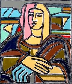 My Mona Lisa, America Martin, Oil + Acrylic, Canvas (Figurative Female Portrait)