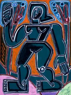 Persephone, 2020, America Martin, Oil/Acrylic-Canvas, Female Figurative-Orange