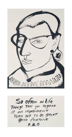 RBG, America Martin, portrait w ink- portion of sale to ACLU/NAACP, figurative