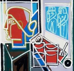 The Artist Studio, America Martin, Oil + Acrylic, Figurative-Red + Blue Interior