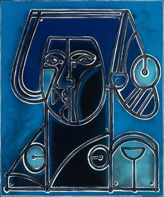 The Whistle, America Martin, Oil/Acrylic-Canvas, Figurative-Dark Blue Portrait