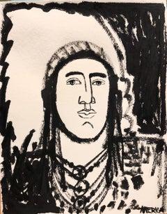 Untitled Native, America Martin, Figurative Portrait Painting, Bold Lines-Black