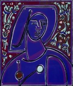 Woman in Blues and Purples, America Martin, Acrylic & Oil, Figurative, Portrait