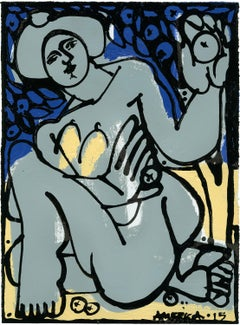Woman in Gray and Blue 1_America Martin_Acrylic/Ink on Paper_Figurative/Nude