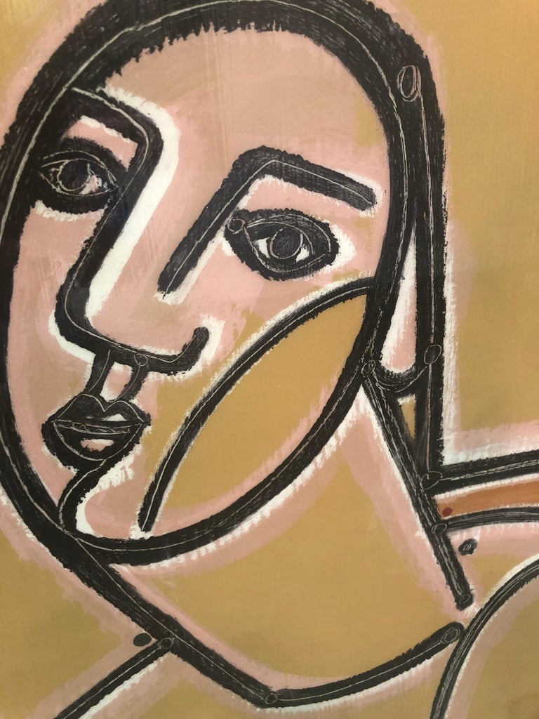 A female portrait by America Martin painted in pink and grey hues. Gestural and figurative, Martin portrays a portrait with geometric background of grey and gold.   AMERICA MARTIN: CONNECTING THE DOTS  JoAnne Artman Gallery is pleased to present,