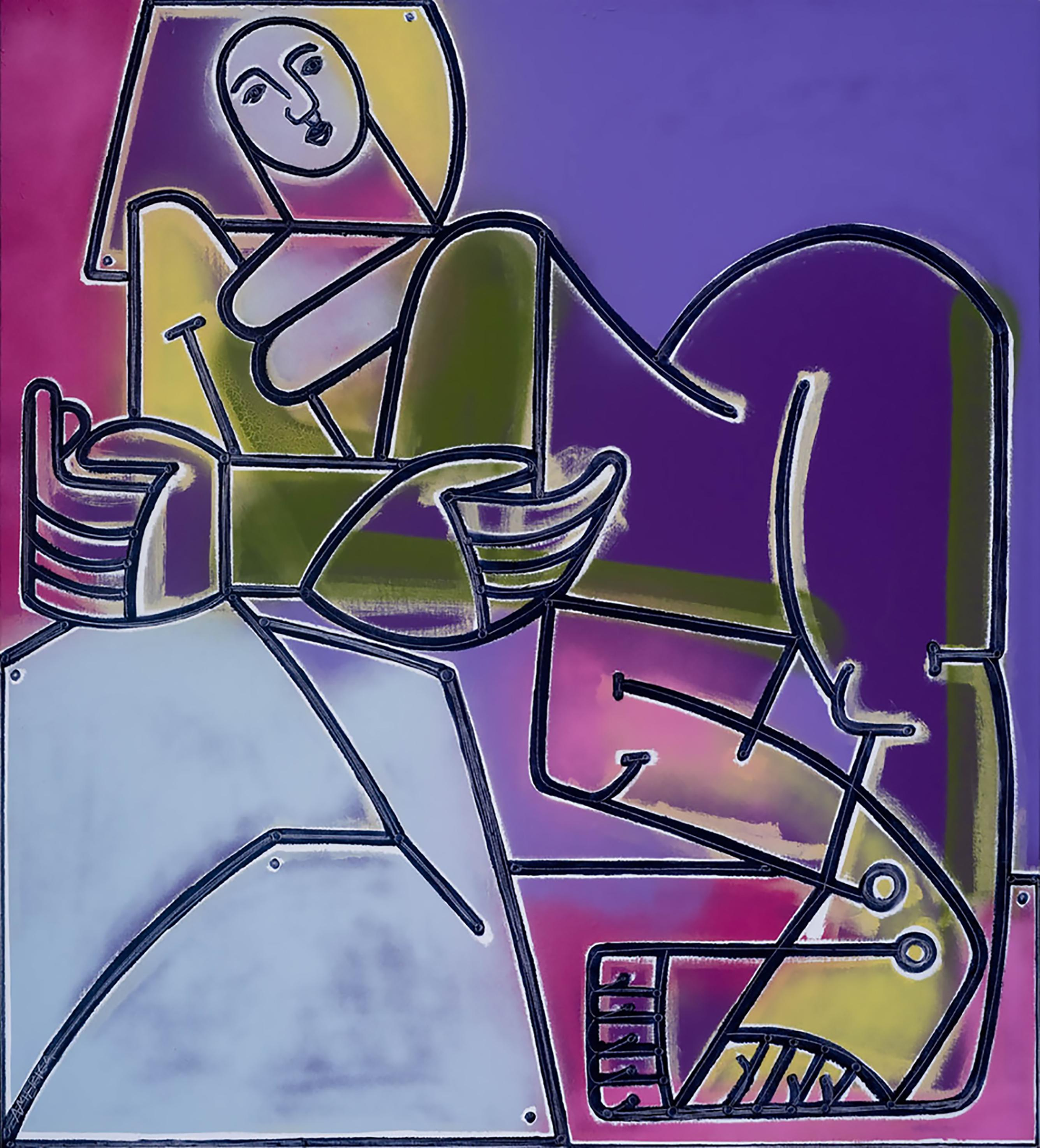 Woman Rests & Watches the Sky_2021_America Martin_Oil/Acrylic- Nude Figure