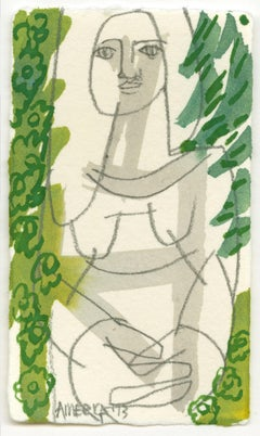 Woman Surrounded by Green Flowers_America Martin_Pencil/Ink on Paper_Figurative