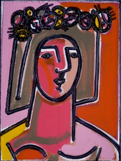 Woman with Flower and Wreath in Hair, America Martin, Figurative, Portrait-flora