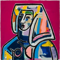 Woman with Hair Down_2021_America Martin_Oil/Acrylic-Female Portrait, Pink