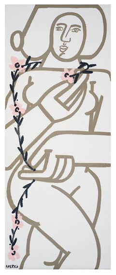 Woman with Vines 1_2021_America Martin_Acrylic on Linen_Female Portrait, Nude