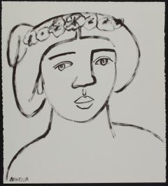 Woman with Wreath of Asters_America Martin_Ink/Cotton Paper_Figurative/Portrait