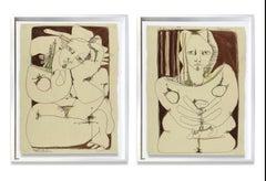 Women Diptych_America Martin_Pencill/Pastel/Ink/Paper_Figurative/Nude/Portrait