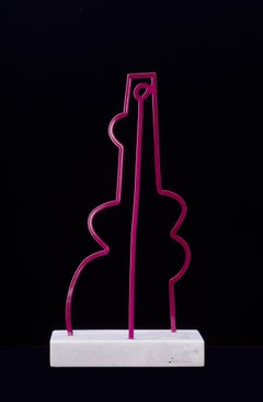America Martin, In Stride-Figurative Steel Sculpture-Magenta, on Carrara Marble