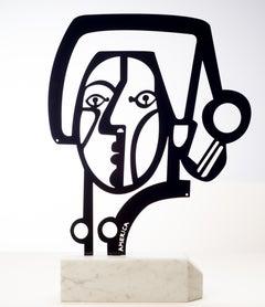 America Martin, Portrait of a Woman, 2020- Figurative Sculpture-Black Steel