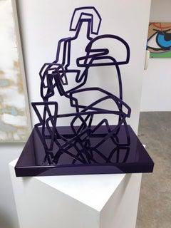 America Martin, Two Women Sit in Easy Conversation- Figurative Sculpture-Purple