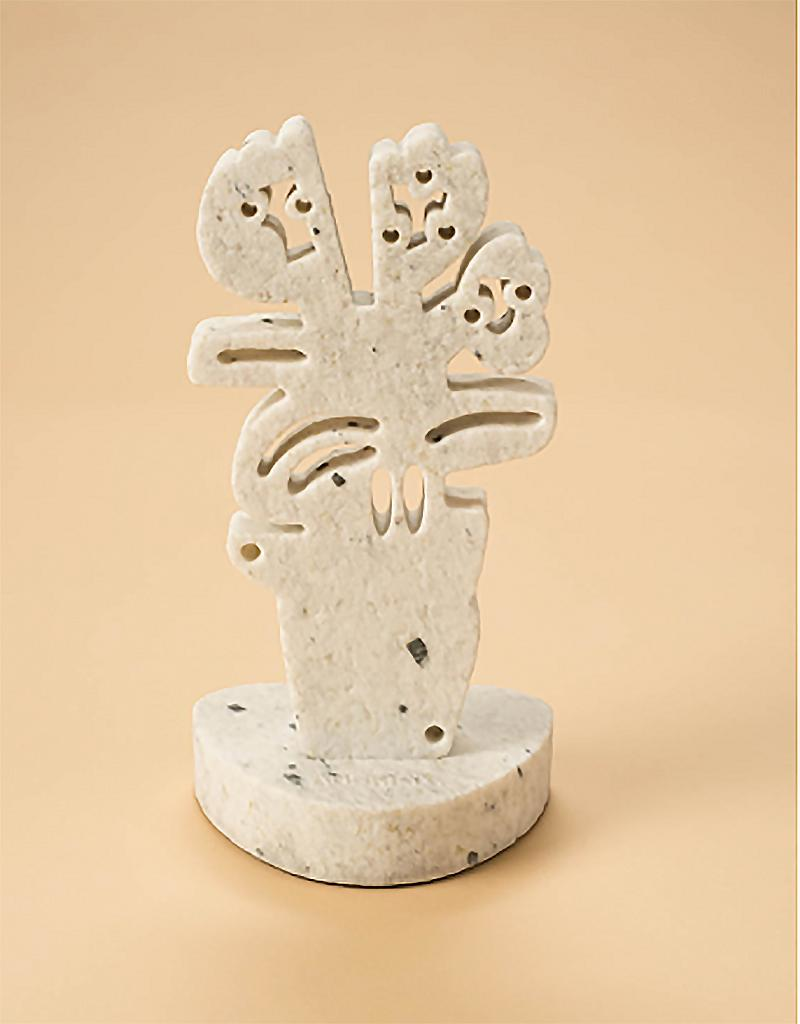 Roses&Myrtle in Vase (Small)_America Martin_Sand Blasted Pepper Marble Sculpture