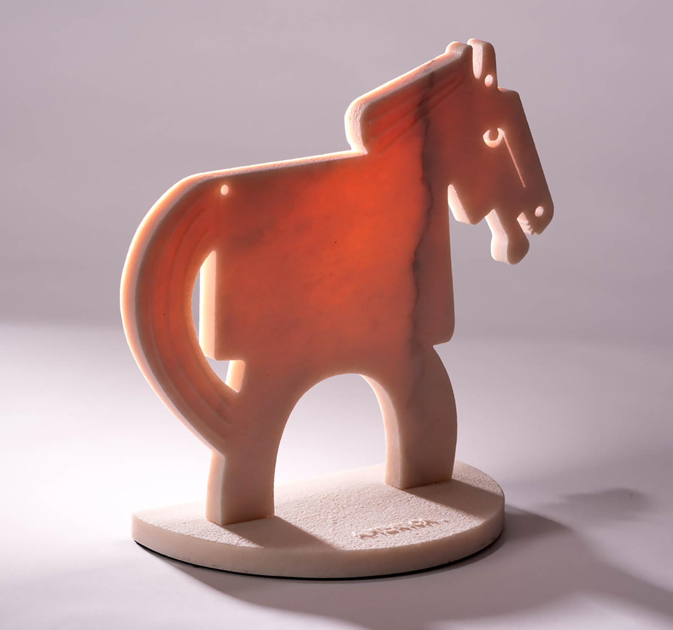 The Rose Quartz Horse (small)_2021 America Martin_Sand Blasted Marble Sculpture