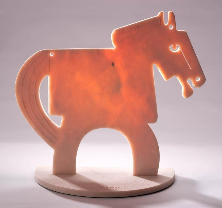 The Rose Quartz Horse (Tall)_2021 America Martin_Sand Blasted Marble Sculpture For Sale 1