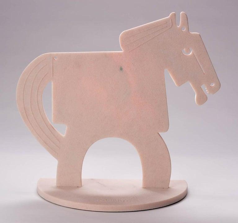 The Rose Quartz Horse (Tall)_2021 America Martin_Sand Blasted Marble Sculpture - Gray Figurative Sculpture by America Martin