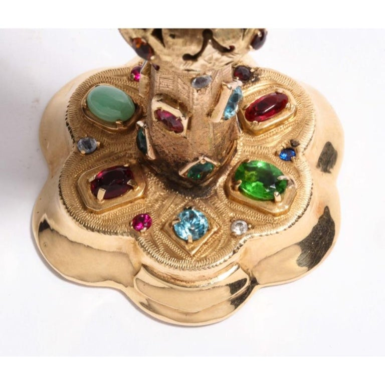 American 14 Karat Yellow Gold and Semi Precious Stone Miniature Chalice Cup For Sale 5