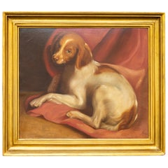 American 1890s Framed Oil on Board Painting Depicting a Dog Lying on a Red Drape