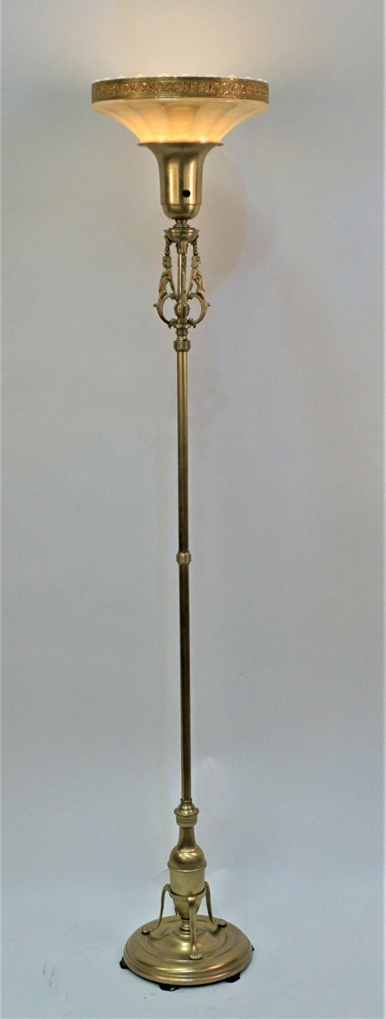 American brass 1920s torchiere floor lamp with glass shade. 3way socket up 300 watts.