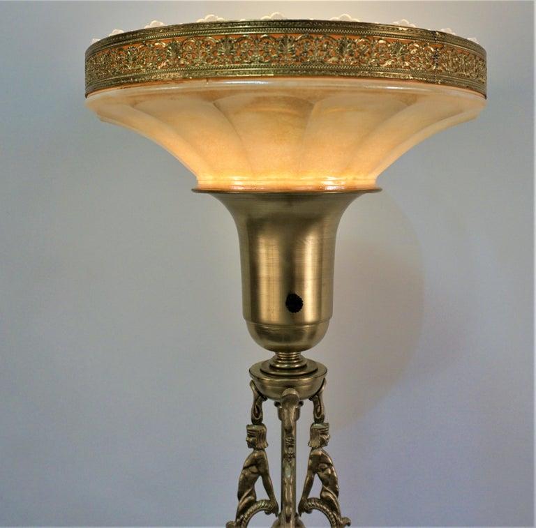 Brass American 1920s Art Deco Torchiere Floor Lamp For Sale