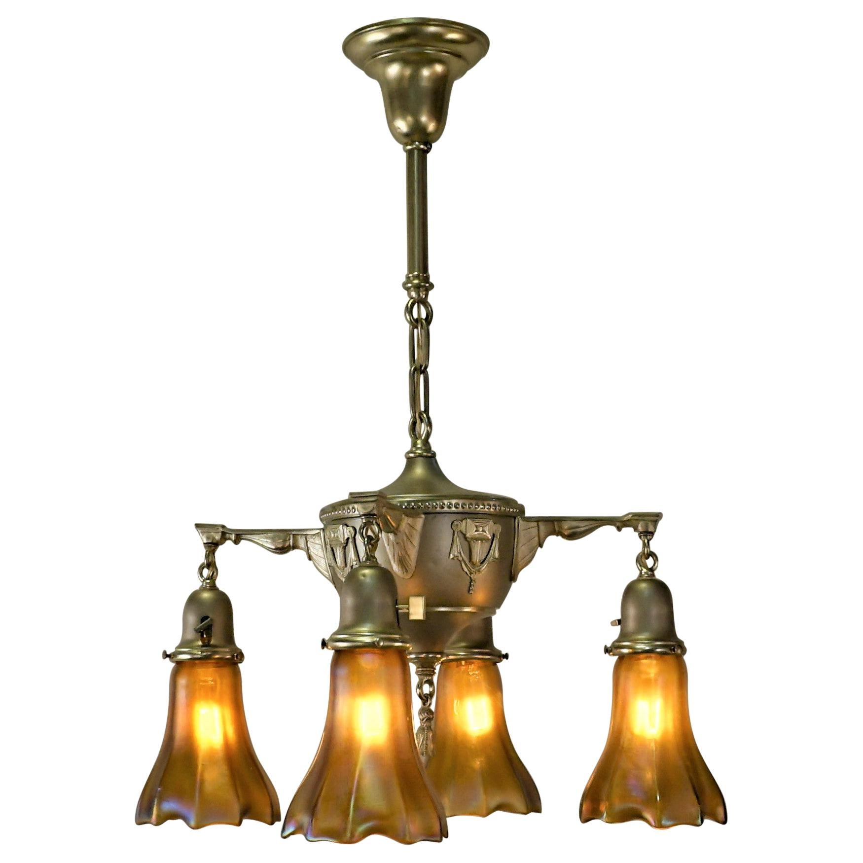 American 1920s Brass and Art Glass Chandelier