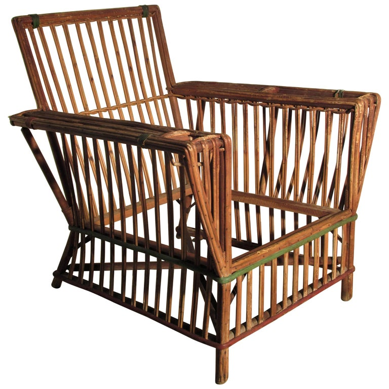 American 1930s Art Deco Stick Wicker Lounge Chair For Sale - American 1930s Art Deco Stick Wicker Lounge Chair At 1stdibs