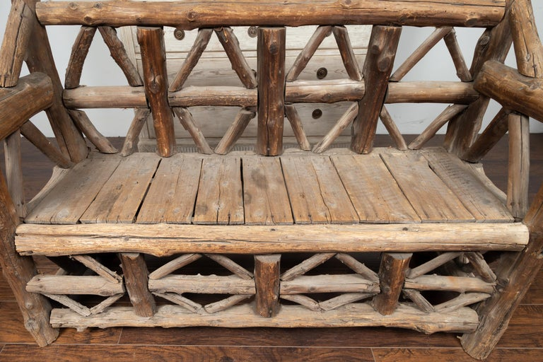 American 1930s Rustic Bench Made of Logs and Slatted Rectangular Seat For Sale 6