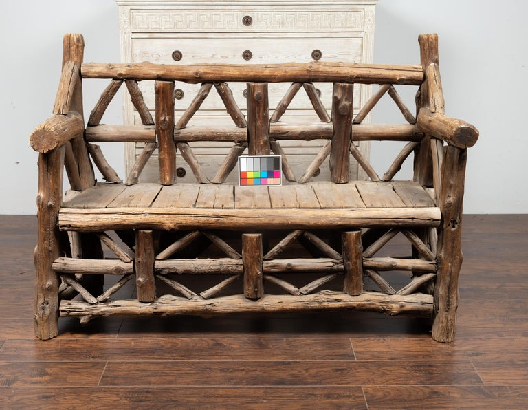 American 1930s Rustic Bench Made of Logs and Slatted Rectangular Seat For Sale 10