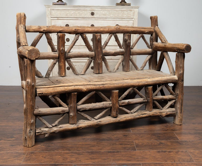 American 1930s Rustic Bench Made of Logs and Slatted Rectangular Seat In Good Condition For Sale In Atlanta, GA