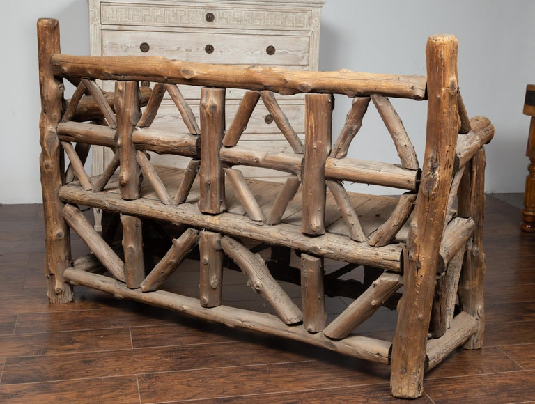 American 1930s Rustic Bench Made of Logs and Slatted Rectangular Seat For Sale 1