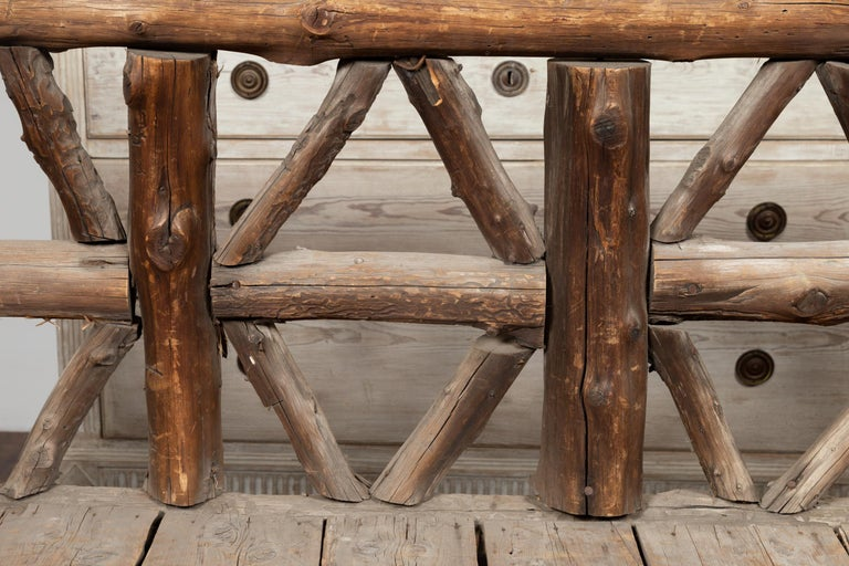 American 1930s Rustic Bench Made of Logs and Slatted Rectangular Seat For Sale 4