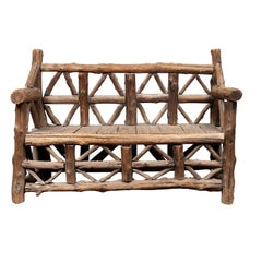 American 1930s Rustic Bench Made of Logs and Slatted Rectangular Seat